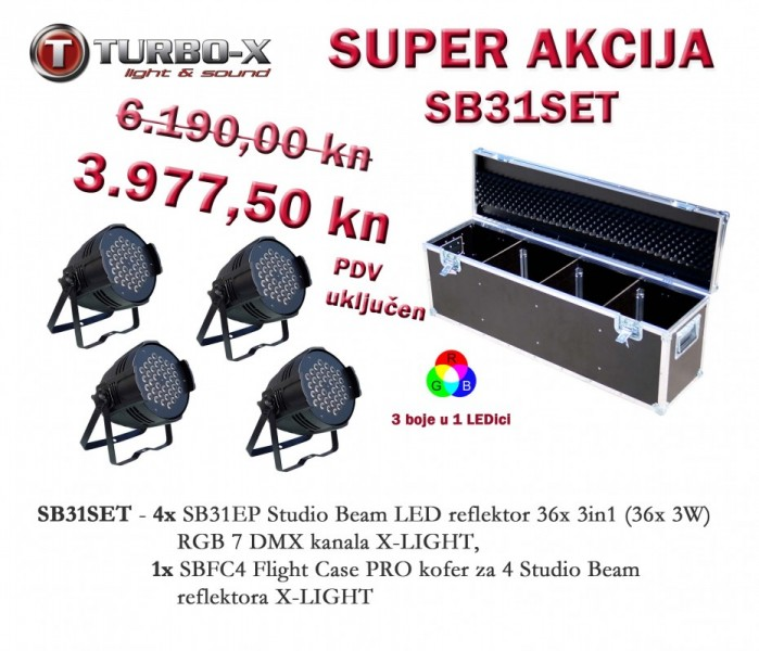 SB31SET Rasvjetni set 4x Studio Beam 36x 3in1 RGB + Filightcase kofer X-LIGHT